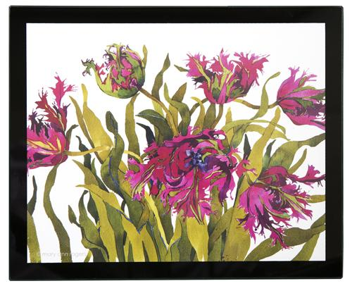 Glass Placemats, set of 4, Black Parrot Tulips image