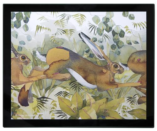Glass Placemats, set of 4, Hares image