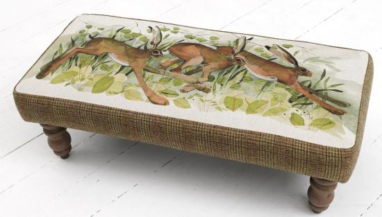 Foot stool, Racing Hares image