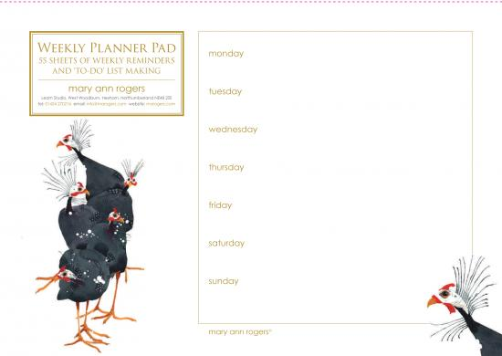 Weekly planner pad, Guinea Fowl image