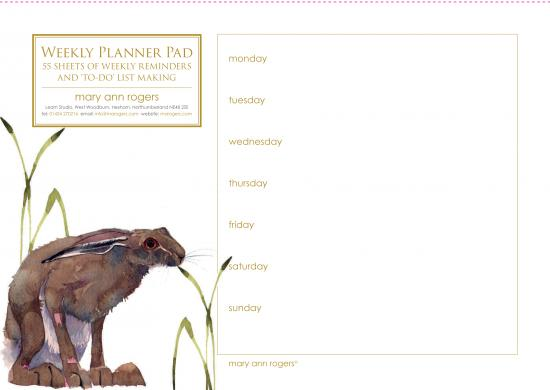 Weekly planner pad, Hare image