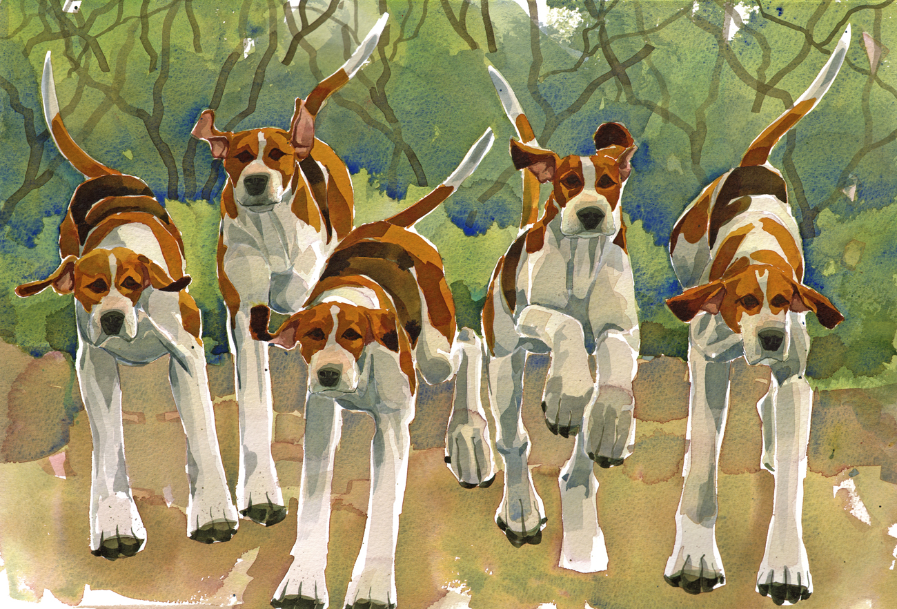 Five Foxhounds  SOLD image
