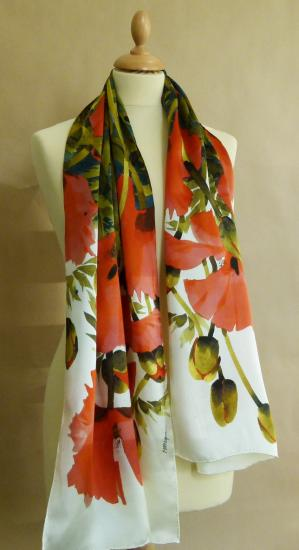 Silk Scarf, Long Poppies image