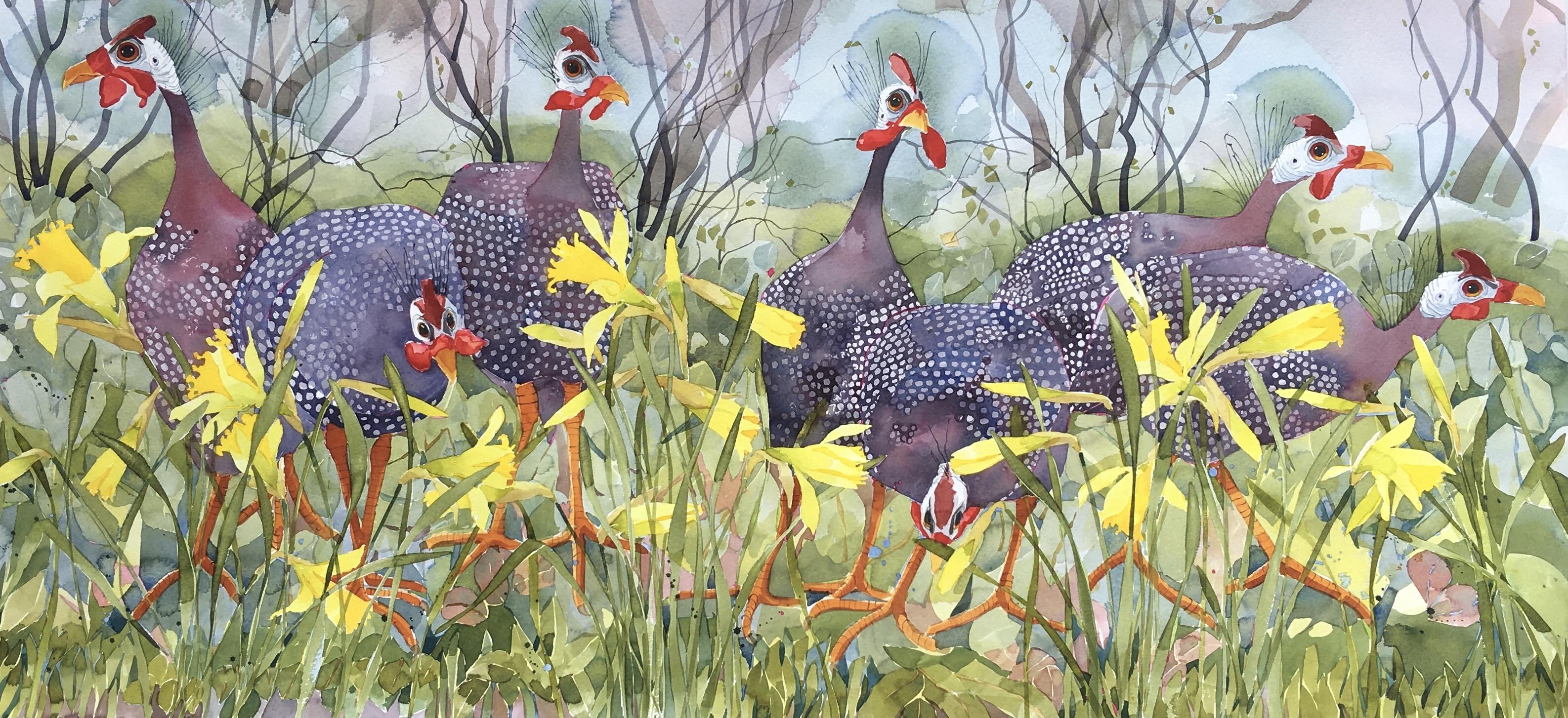 Guinea Fowl in Daffodils image